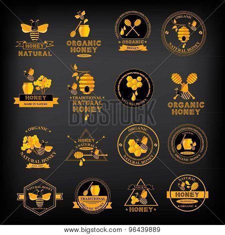 Honey label design. Bee badge.