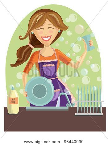 Happy Woman Washing Dishes