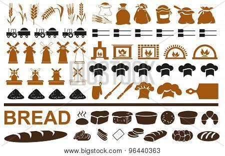 Production Of Bread Icons On White