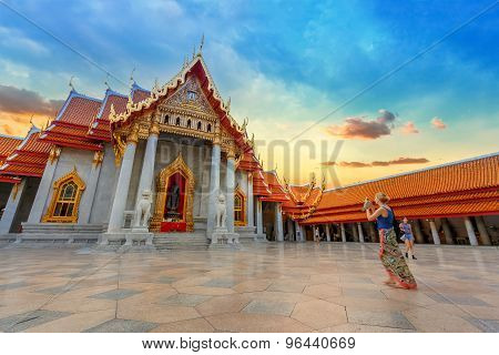 The Marble Temple Wat Benchamabopit Dusitvanaram in Bangkok Thailand