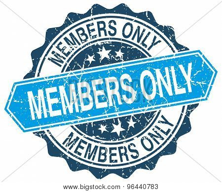 Members Only Blue Round Grunge Stamp On White