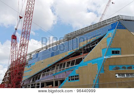 Construction Of Football Stadium Exterior In Minneapolis