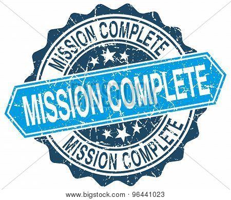 Mission Complete Blue Round Grunge Stamp On White