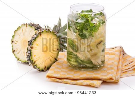 Infused Fresh Fruit Water Pineapple, Cucumber And Mint .isolated Over White