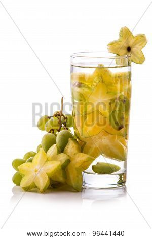 Infused Fresh Fruit Water  Starfruit And Grape. Isolated Over White