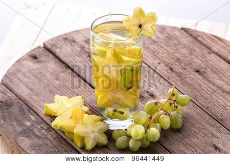Fresh Fruit Flavored Infused Water Mix Of Starfruit And Grap