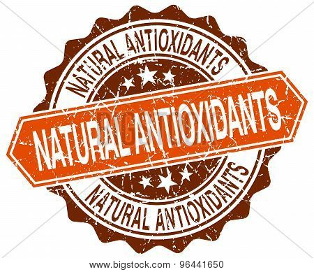 Natural Antioxidants Orange Round Grunge Stamp On White