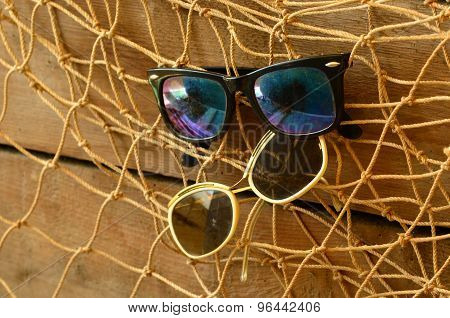 Vintage sunglasses and beam trawl. Vintage summer.