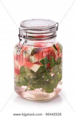 Infused Fresh Fruit Water Watermelon, Starfruit And Mint.isolated Over White