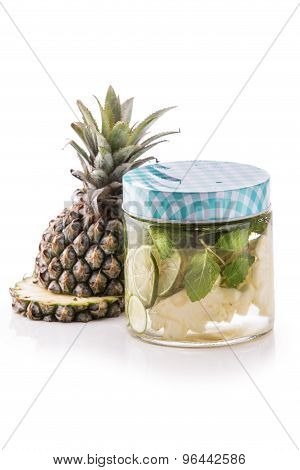 Infused Fresh Fruit Water Pineapple, Lime And Mint.isolated Over White