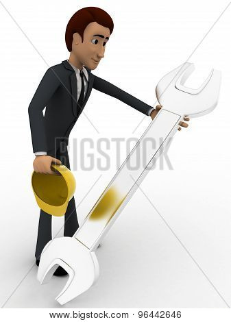 3D Man Mechanical Engineer With Hat And Wrench Concept
