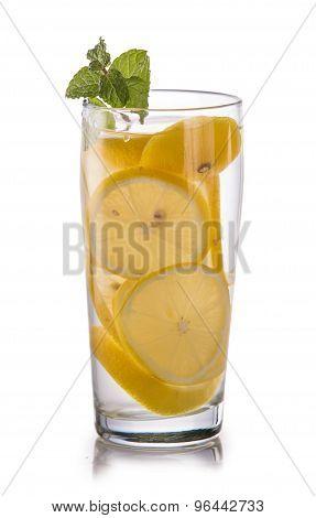 Infused Fresh Fruit Water Of Lemon. Isolated Over White