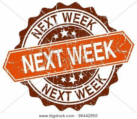 Next Week Orange Round Grunge Stamp On White