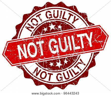 Not Guilty Red Round Grunge Stamp On White