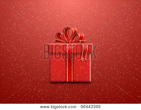 Red Christmas background with snowflakes and a gift box