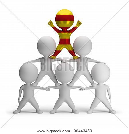 3d small people standing on each other in the form of a pyramid with the top leader Catalonia