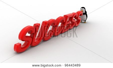 3D Penguin Hold And Push Succeess Text Concept