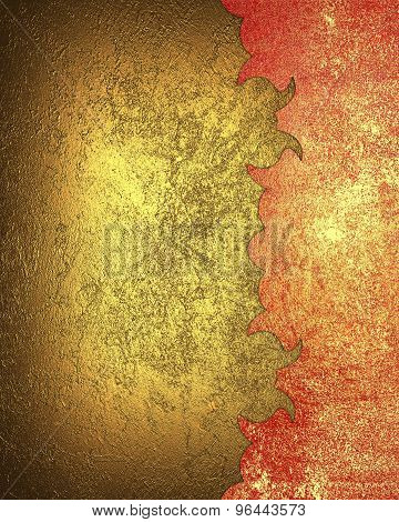 Gold Background With Red Worn Pattern. Element For Design. Template For Design. Abstract Grunge Back