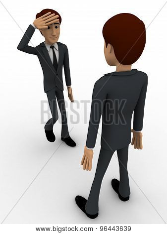 3D Man Standing And Saluting To Senior Officer Concept