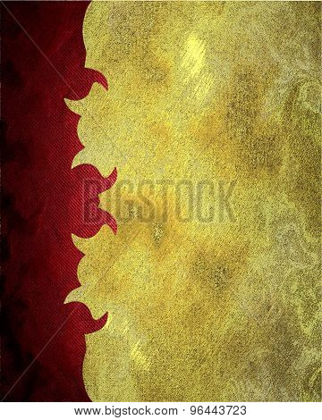 Golden Grunge Background With A Red. Element For Design. Template For Design. Abstract Grunge Backgr