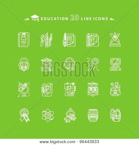 Set of White Education Icons on Green Background