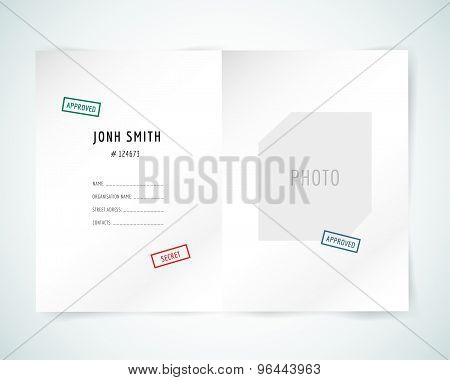 Form blank illustration. Folder, paper, isolated and text. Vector stock element for design.