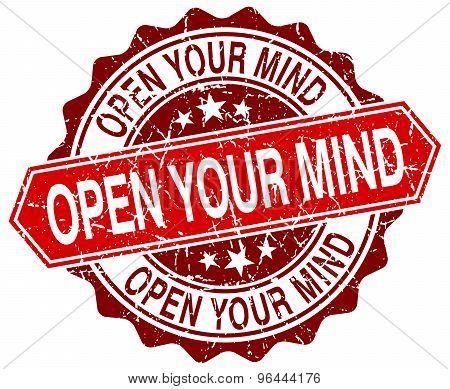 Open Your Mind Red Round Grunge Stamp On White