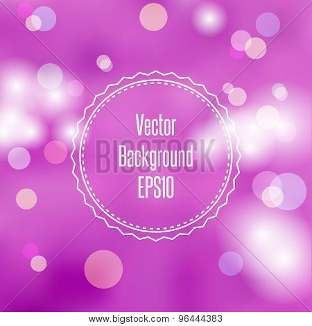 Blurred Purple Abstract Watercolor Background With Bokeh Copyspace For Your Text. Vector Illustratio