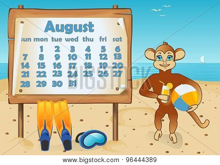 Calendar 2016 year with Monkey. August
