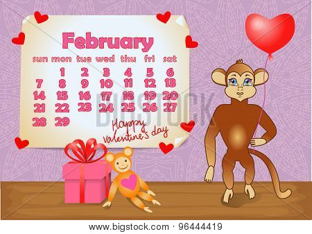 Calendar 2016 year with Monkey. February