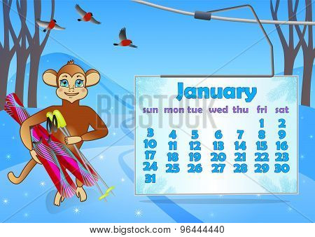 Calendar 2016 year with Monkey. January