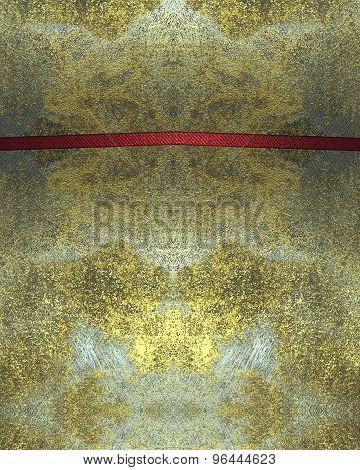 Grunge Background Of Old And Scratched Metal Plates With Red Cutout. Element For Design. Template Fo