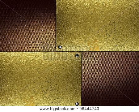 Grunge Brown Background With Gold Inserts. Element For Design. Template For Design.