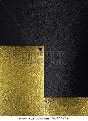 Black Background With Gold Inserts. Element For Design. Template For Design.