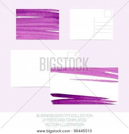 Business Identity Collection: Purple Watercolor. Postcard Templates In Two Size With Back Side. Vect