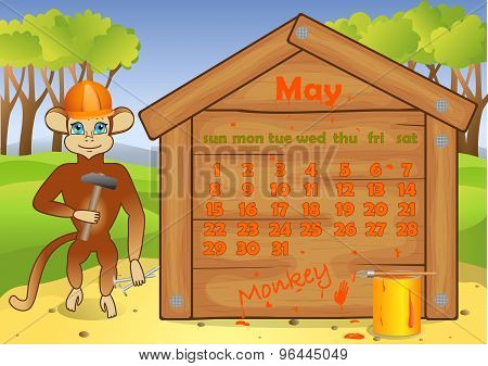 Calendar 2016 year with Monkey. May