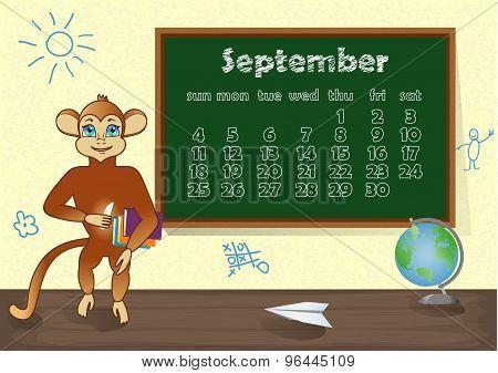 Calendar 2016 year with Monkey. September