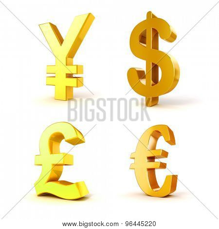 3d currency symbols on white background