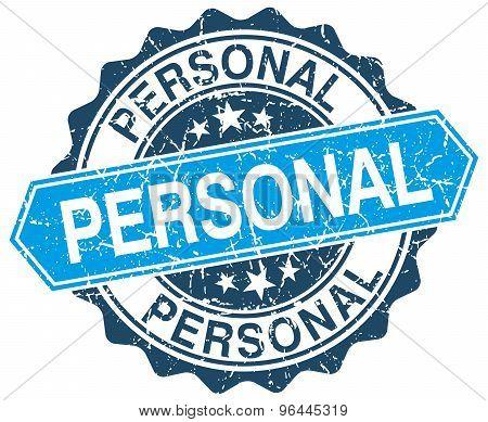 Personal Blue Round Grunge Stamp On White