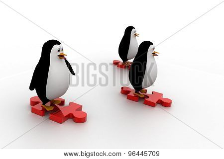 3D Three Penguins Standing Puzzle Pieces And Running For Race Concept