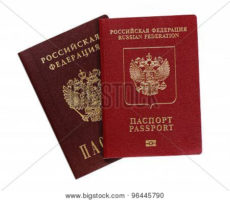 Russian passports on a white background