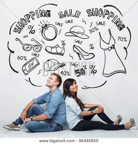 Mixed Race Couple Imaginating About Shopping, Ilustrated Things, Isolated In White Background