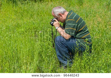 Mature photographer taking a photo of Common Blue butterfly