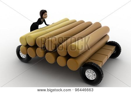 3D Woman Draw Timber On Hand Truck Concept