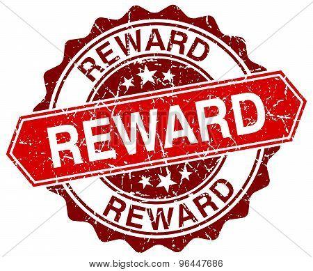 Reward Red Round Grunge Stamp On White