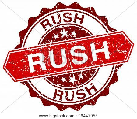 Rush Red Round Grunge Stamp On White
