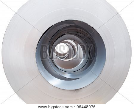 Close Up Rolls Of Metal Sheet