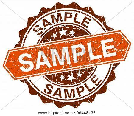 Sample Orange Round Grunge Stamp On White