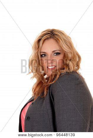 Businesswoman In Closeup Profile.