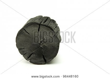 Natural wood charcoal, Isolated on white. Kishu binchotan, japanese traditional white charcoal or hard wood charcoal, isolated on white background